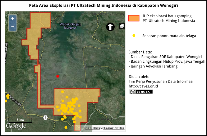 Peta Eksplorasi Batugamping PT Ultratech Mining Indonesia di Kabupaten Wonogiri