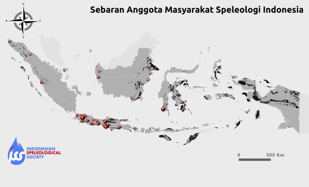 Sebaran anggota Masyarakat Speleologi Indonesia tahun 2016