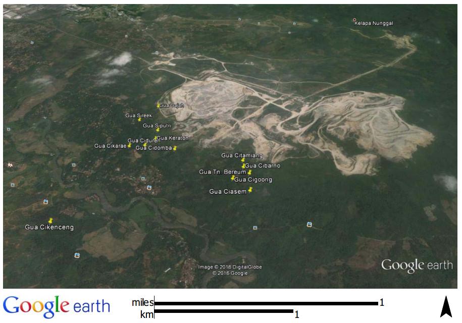 Sebaran gua di sekitar tambang semen kawasan Karst Cibinong. (Tim Survei)
